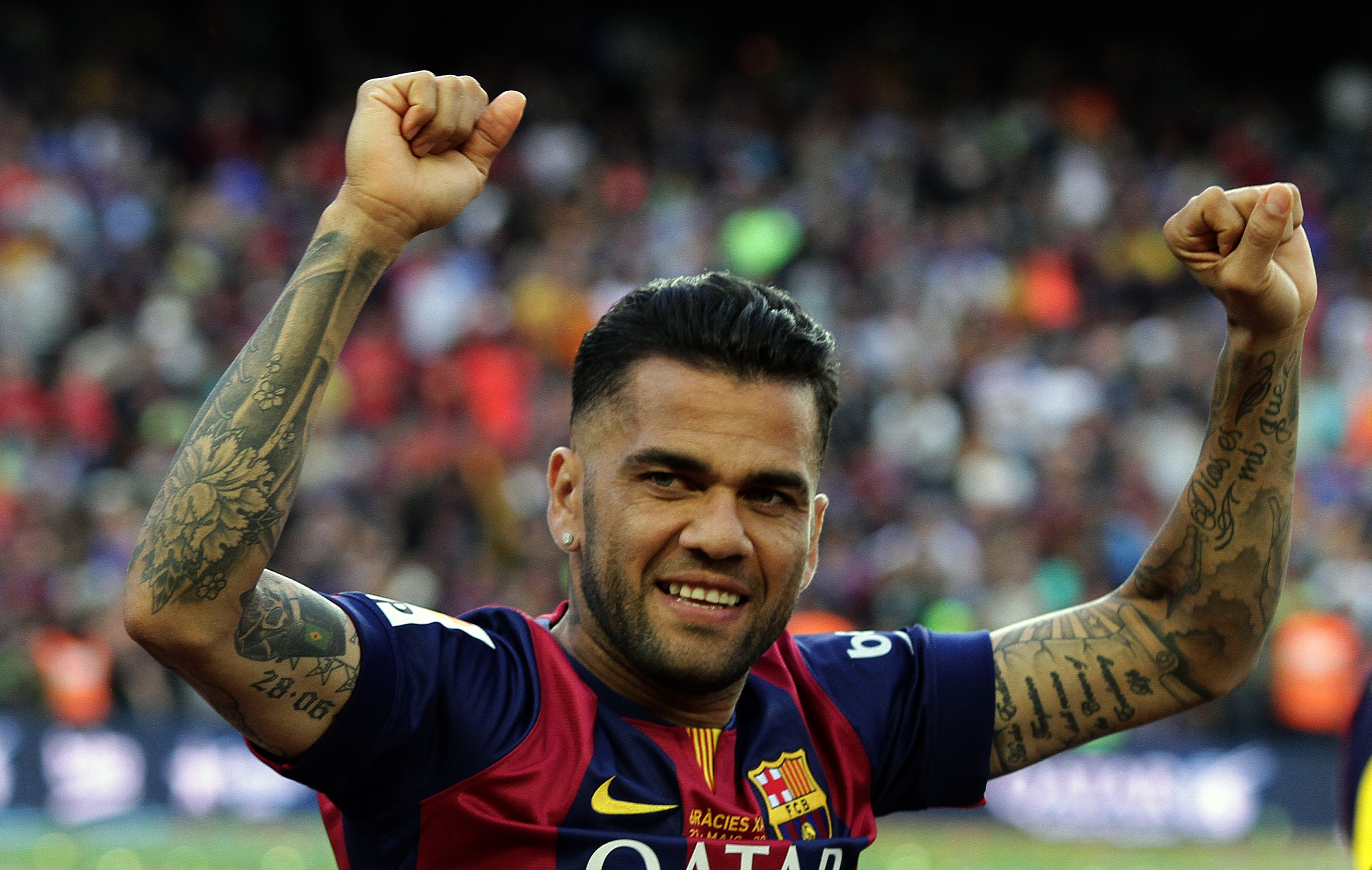Dani Alves during the celebration for their title win